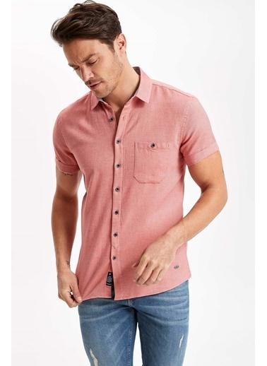 DeFacto Tek Cepli Slim Fit Gömlek Kırmızı